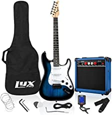 LyxPro 39 inch Electric Guitar Kit Bundle with 20w Amplifier, All Accessories, Digital Clip On Tuner, Six Strings, Two Picks, Tremolo Bar, Shoulder Strap, Case Bag Starter kit Full Size - Blue