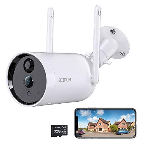 Camara Vigilancia WiFi Exterior, BOIFUN 1080P Cámara de Seguridad IP con Batería de 10400 mAh, Impermeable, Visión Nocturna, Notificaciones, Comunicación Bidireccional [Presentó Tarjeta SD 32G]