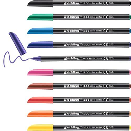 Edding 1200 rotulador de color de trazo fino - negro rojo verde amarillo naranja marrón violeta rosa azul-claro - set 10 colores brillantes - punta redonda de 1mm - marcador dibujar y escribir