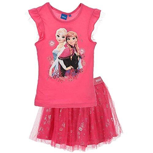 Frozen - Die Eiskönigin T-Shirt und Rock Kollektion 2018 Set 98 104 110 116 122 128 Mädchen Kurzarmshirt ELSA Disney (122-128, Rosa)