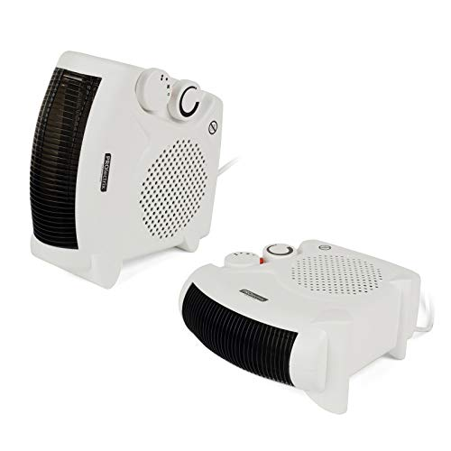 Prolectrix COMBO-5275 Portable Flat Fan Heater and Cooler, 2000 W, White, Set of 2