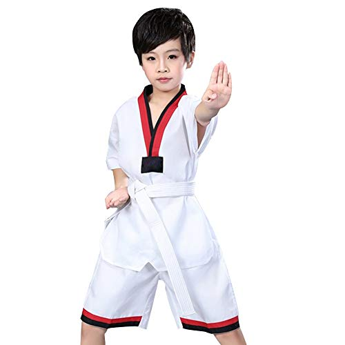 Trajes de Taekwondo poliéster algodón algodón Taekwondo Ropa niños Manga Larga Traje de Manga Corta Traje de Taekwondo-A-XXXS