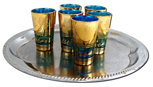 6x Teegläser Marokko orientalische Teegläser gold-blau