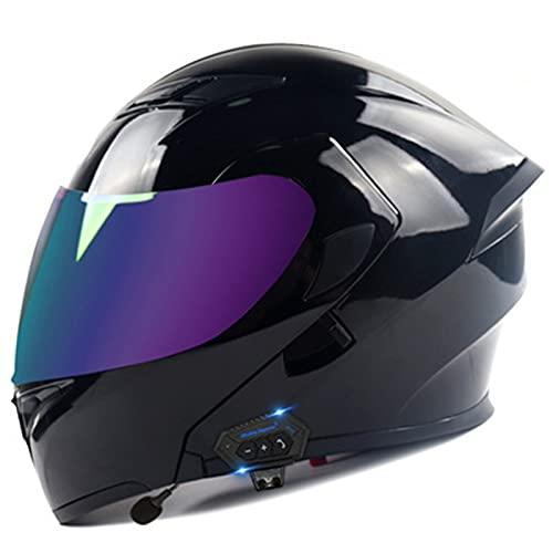 Casco De Motocicleta Frontal Abatible Modular Integrado Con Bluetooth, Casco De Motocicleta De Campo Traviesa Con Doble Visera Con Solapa Aprobado Por ECE C3,XL