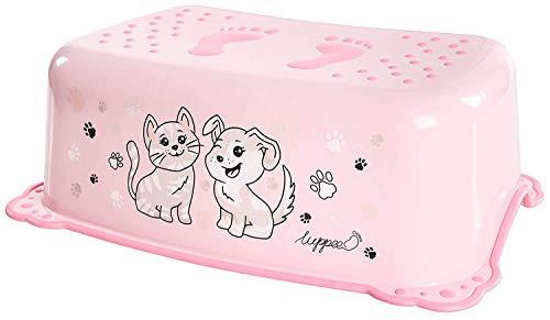 LUPPEE Taburete para Niños con Elementos Antideslizantes, Taburete Baño Niños, Escalon Baño, Perro y Gato, Rosa