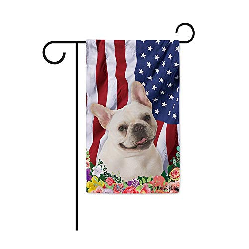BAGEYOU American Flag with My Love Dog Lovely French Bulldog Puppy 4th of July Patriotic Decoraive Garden Flag for Outside Colorful Flowers Summer Home Decor Banner 12.5X18 Inch Printed Double Sided