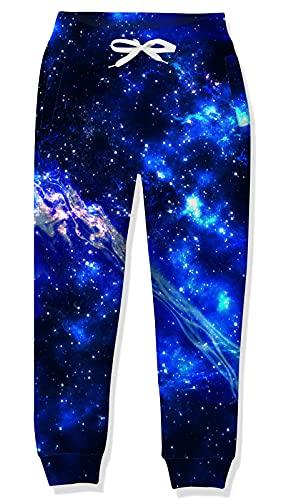 Goodstoworld Mädchen Jogginghose Kiner Jungen Trainingshose Lila Blaue Galaxie Elasticated Cuff Hose 3D Sporthose Lässige Track Pant 12-13 Jahre