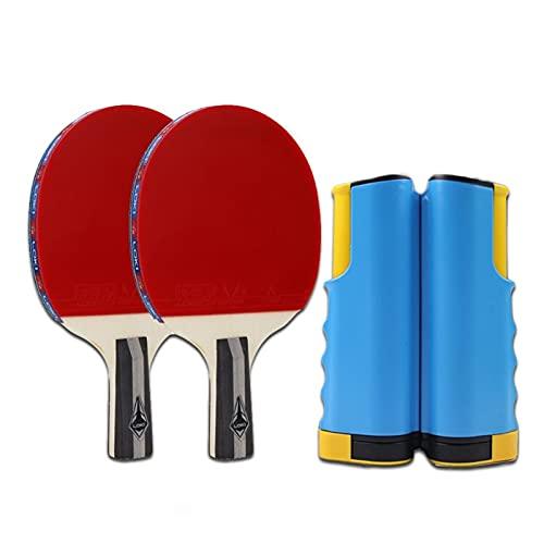 WANGYA Tischtennisschläger Professionelle Ping-Pong-Schläger Set Tischtennisschläger Bats Paddles mit einziehbarem Netz, fortschrittliches Home Innen- oder Außenspiel Profi tischtennisschläger