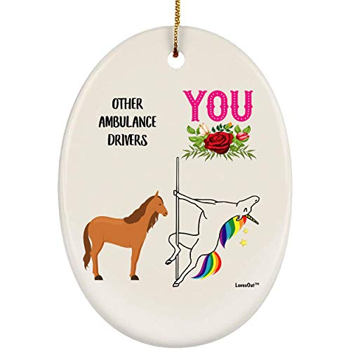 Lovesout Funny Best Ambulance Driver Unicorn Congrats Ceramic Oval Ornament