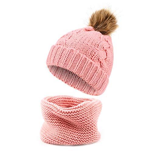 TAGVO Winter Kinder Strickmütze Hut Kreis Schal Set, Elastische Weiche Warme Kleinkind Beanie Mütze mit Nackenwärmer für Baby Kinder Mädchen Jungen