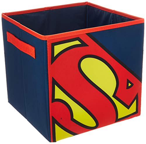 Everything Mary Superman Collapsible Storage Bin by DC Comics-Cube Organizer for Closet, Kids Bedroom Box, Playroom Chest-Foldable Home Decor Basket Container with Strong Handles and Des, Blue/Red