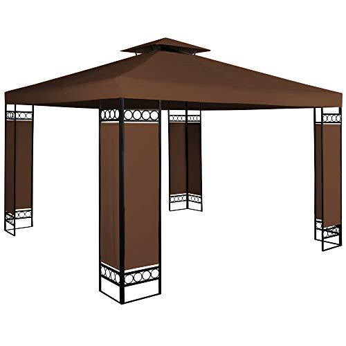 Deuba Pavillon Lorca 3x3m wasserabweisend UV-Schutz Metall Gestell 9m² Festzelt Partyzelt Gartenzelt Gartenpavillon Braun