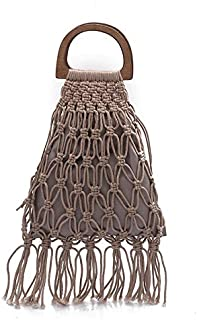 TOOGOO Handmade Cotton Woven Wood Handle Womens Handbags and Purses Hollow Rope Tassel Beach Female Net Straw Tote Evening Clutch Bags Pink