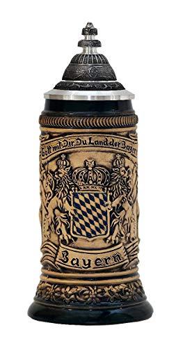 Zöller & Born Chope de bière Allemande étain Bavaria Armoiries nationales dans Le Panneau Central 0,25 litres ZO 1661-506