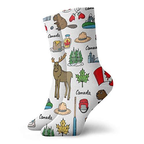Alysai Thema von Kanada-Malerei-Kunst druckte lustige Neuheit-tierische zufällige Baumwollmannschafts-Socken 11.8inch