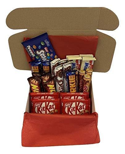 Caja Regalo Barra Chocolate Selección Dulce. 24 favoritos Choc que incluyen Kit Kat, Lion Bar, Aero, Yorkie, Rolo, Milkybar y Smarties. Regalo de verano, regalo de cumpleaños