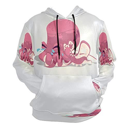 Moda 3D impresión de dibujos animados animal pulpo patrón unisex suéter fresco sudaderas con bolsillo canguro para hombres y mujeres