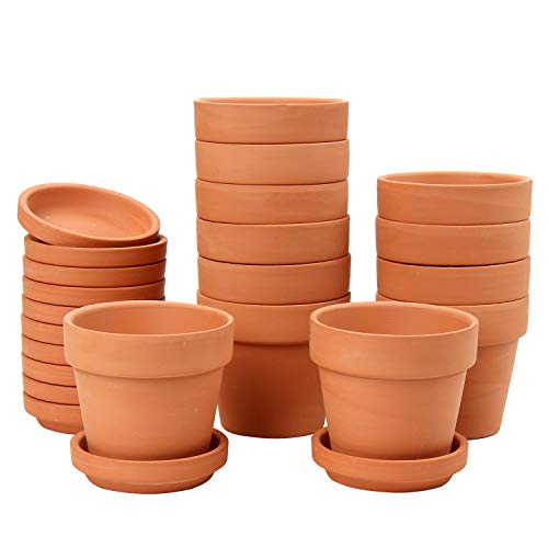 Briful 12 Pcs Mini Terracotta Pot 3.1'x2.9' Flower Pots Clay Ceramic Pottery Planter with Saucer and Drainage Hole Cactus Succulent Nursery Pots- Great for Plants,Crafts,Wedding Favor