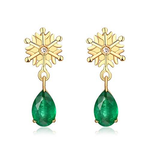 ANAZOZ 18K Oro Amarillo Pendientes Mujer Oro Verde Pendientes Copo de Nieve con Gota Esmeralda Verde Blanca 0.73ct