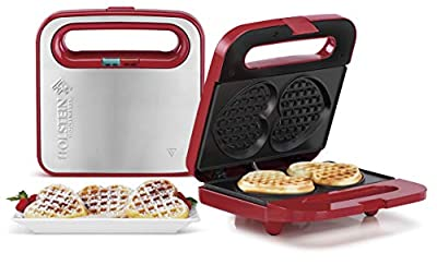 Holstein Housewares HF-09041R Heart Waffle Maker, Red/Stainless Steel