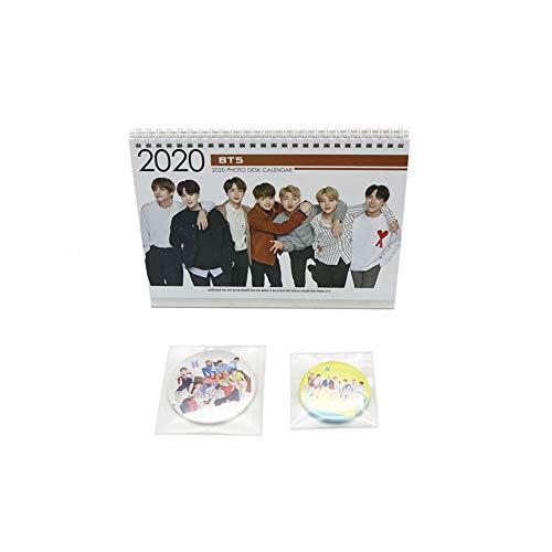 BTS Bangtan Boys 2020 Calendar Gift Set with BTS Mirror Pin Button Badge