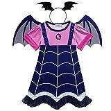 Wetry - Costume di Vampirina per Bambina, Set di 2 - Vestito e Fascia per Carnevale Christmas Halloween Cosplay Party