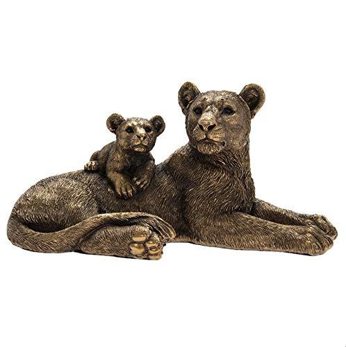 The Leonardo Collection LP46003 Reflections Bronzed Lioness with Lion Cub Ornament, 23x13x11cm