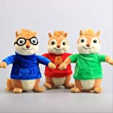 Detazhi 22cm 3pcs/Set Movie Toys Alvin and The Chipmunks Plush Dolls Cute Chipmunks Stuffed Toys Kids Gift