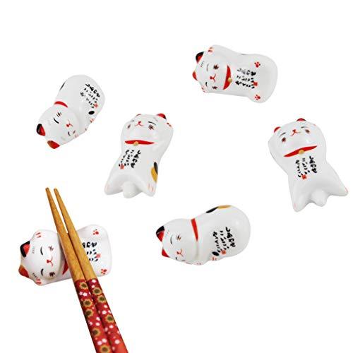 Juego de 6 palillos japoneses de Lucky Cat con soporte de cerámica para cuchara de cena, tenedor, cuchillo, vajilla con caja de regalo para decoración de inauguración de la casa