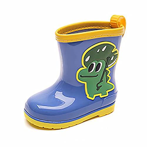 Kids Wellies Boys Duck Lightweight Cute Wellington Waterproof Rain Boots Girls Drawstring Outdoor Cartoon Unisex Rubber Shoes Blue Size 8.5 UK Child