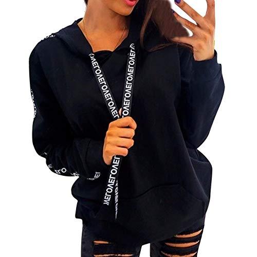 Kapuzenpullover Damen Hoodie Pullover Sweatshirt Kaputzen Pulli Langarm Plus Size Einfarbig Tops Shirt Hoodies Dünn Jacke Damen Kapuzenjacke Sweatjacke (Schwarz, 4XL)