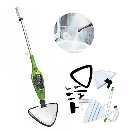 Steam Mop, 10 in 1 Detachable Handheld Steam Cleaner for Hardwood, Laminate Floors, Tiles, Carpet, 1300W Multifunction Steamer Mop Cleaning for Home, Kitchen - Green