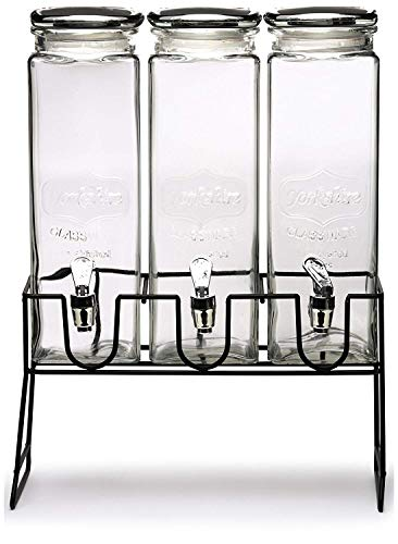 Circleware Yorkshire Triple XL Beverage Stand and Spigot Fun Party Glassware Cold Drink Pitcher for Water, Punch Iced Tea, 80 oz each, 3-Dispensers