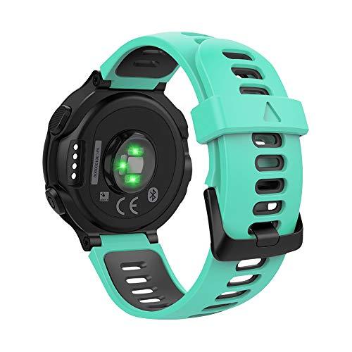 MoKo Bracelet Compatible avec Forerunner 735XT/220/230/235/235 Lite/620/630/Approach S20/S6/S5, Silicone Bande Respirante de Montre de Remplacement Sport Band avec Fermoir - Vert Menthe et Noir