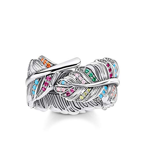 Thomas Sabo Women Ring 925 Sterling Silver, Blackened TR2284-342-7