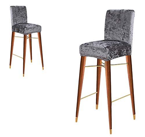 KELUINA Samt Barhocker Stuhlhussen mit Rückenlehne, elastischer Sitz Home Soft Chair Schonbezug Stuhlschutz für die Küche Frühstückstheke Barhocker (Dark Grey,2 Stück)