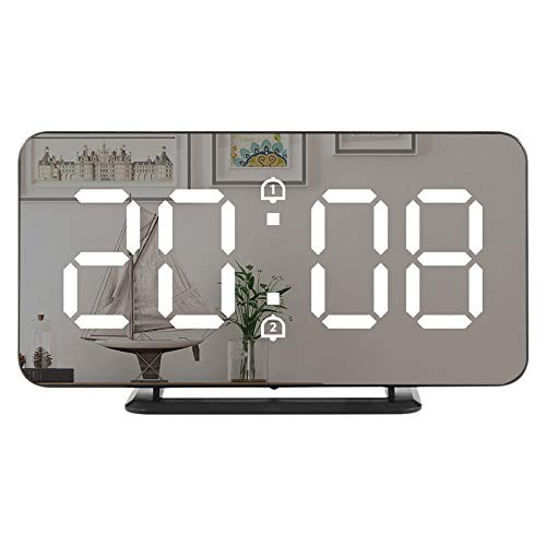 Huante - Reloj digital con pantalla LED regulable de 6 pulgadas para dormitorio, despertador inteligente ligero con doble números con función de repetición
