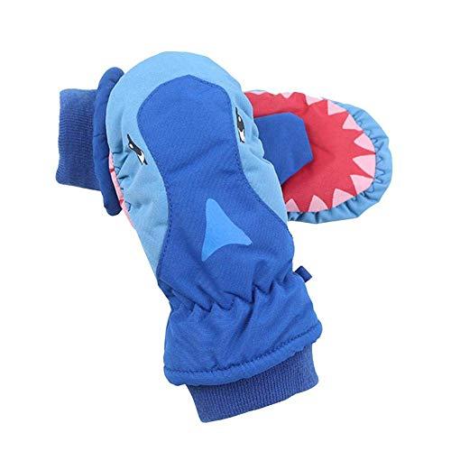 Moooi Kinder wasserdichte Skihandschuhe, Cartoon Sharks Spielen Schnee Skifahren süße Handschuhe, Winter wärmste atmungsaktive Handschuhe für Jungen und Mädchen Blaues Gesicht