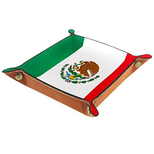 ATOMO Bandeja de almacenamiento de cuero con la bandera de México para llaves y monedas, organizador de mesita de noche
