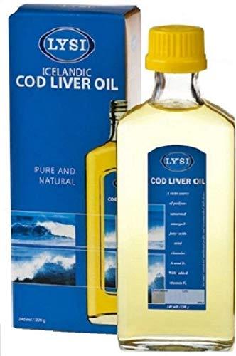 Lysi Huile de foie de Morue - Oméga 3 capital santé Saveur Naturelle - Riche en EPA, DHA et Vitamine A, D, E - 240 ml