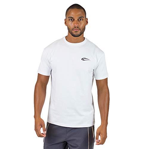 SMILODOX T-Shirt Herren Regular Fit 'Base'| Kurzarm | Casual Top | Funktionsshirt für Sport Fitness Gym & Training | Trainingsshirt - Laufshirt - Sportshirt mit Logo, Farbe:Weiß, Größe:M