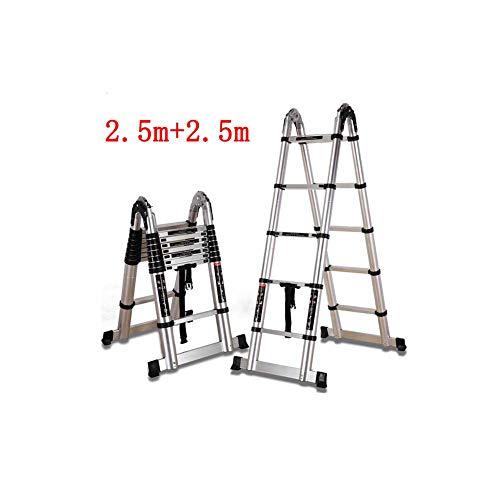 QARYYQ Folding Ladder Engineering Herringbone Straight Dubbele Ladder Telescopische Bamboe Thuis Multifunctionele Aluminium Stap Ladder Step kruk