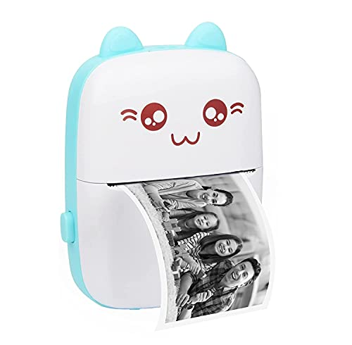 Portable Printer, Mini Pocket Wireless Bluetooth Thermal Printers with 1 Rolls Printing Paper for Android iOS Smartphone, Work Study Photo Label Notes Memo Picture Gift Inkless Printing (Blue)