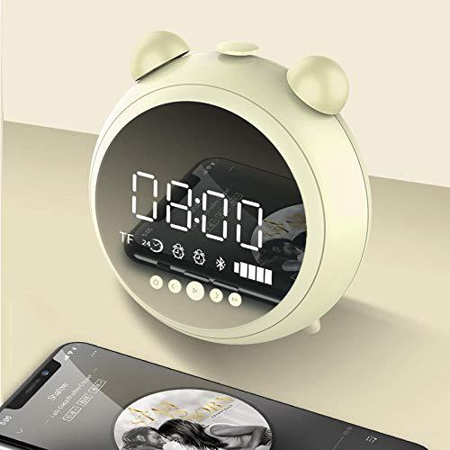 FPRW HD spiegel wekker met nachtlampje radio FM luidspreker Wireless Bluetooth ondersteuning Aux Tf Player digitale klokken groen