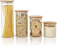 sweetzer & orange set da 4 barattoli di vetro - contenitori per alimenti con coperchio in bambù a chiusura ermetica - per caffè, tè, avena, pasta, cereali, riso - barattolini trasparenti da cucina