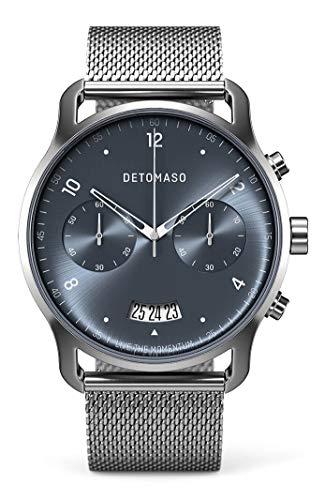 DETOMASO SORPASSO Cronografo, orologio da polso da uomo, analogico, al quarzo, maglia milanese, cinturino in argento