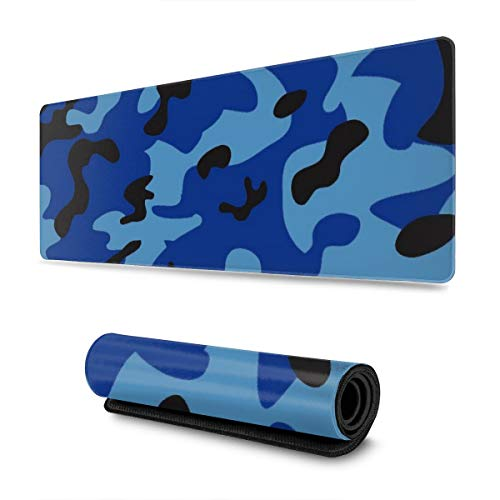Dark Blue Camouflage Design Pattern XXL XL Large Gaming Mouse Pad Mat Long Extended Mousepad Desk Pad Non-Slip Rubber Mice Pads Stitched Edges (31.5x11.8x0.12 Inch)
