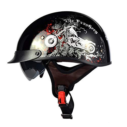 ZHAORU Casco de Moto Medio Abierto con Gafas UV, Casco de Moto Vintage Medio Casco Abierto, Aprobado por el Dot