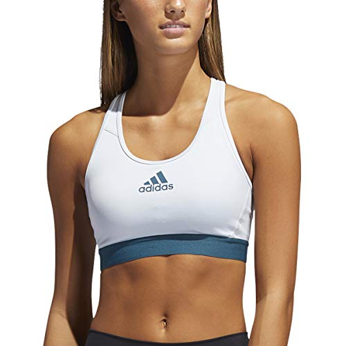 adidas Womens Don't Rest Alphaskin Padded Bra Halo Blue/Wild Teal Small