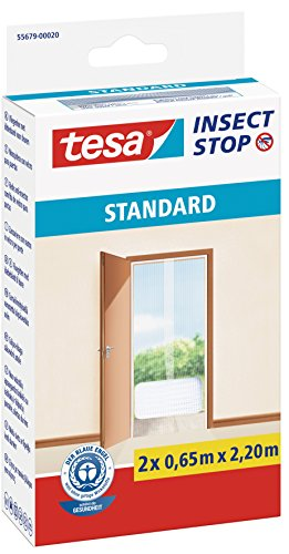 tesa Insect Stop STANDARD Fliegengitter für Türen - 2-tlg Insektenschutz Tür mit Klettband - Fliegen Netz ohne Bohren - Weiß, 2 x 65 cm x 220 cm